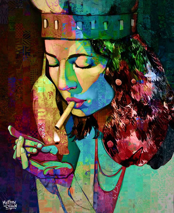 Matthew Dawn Graffiti Artist Smoking Girl Digital Sketch