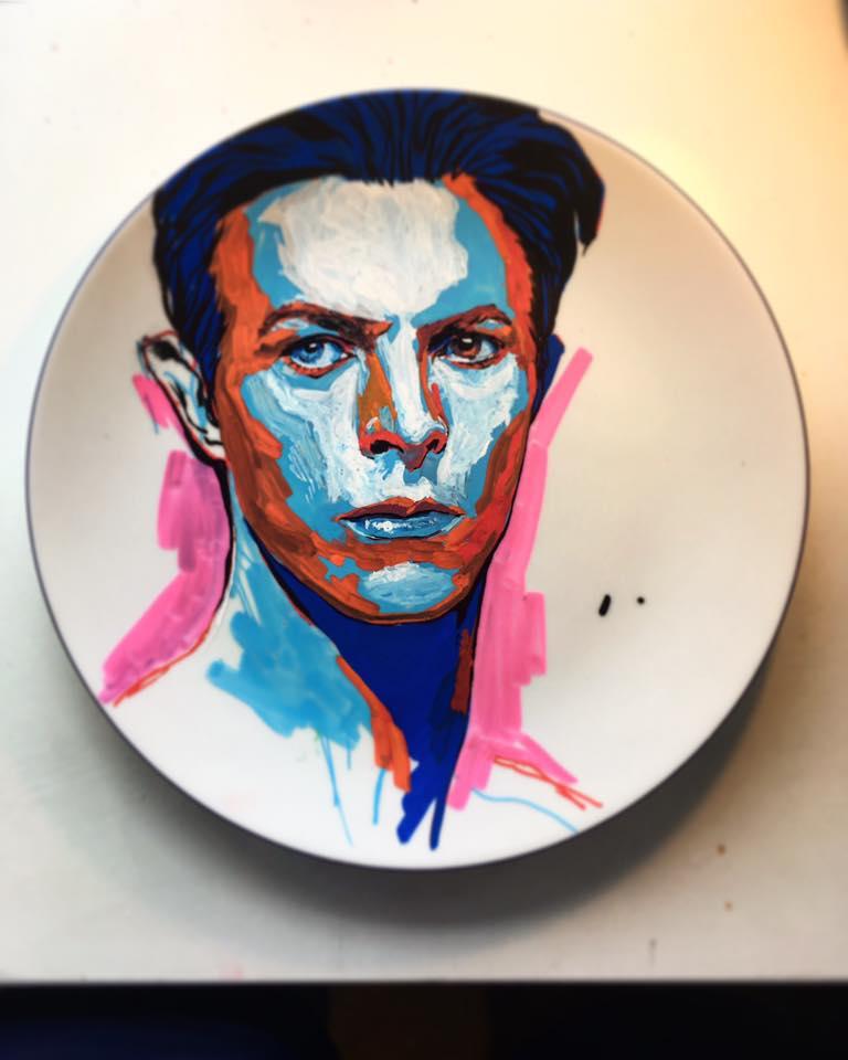 David Bowie Plate art street art graffiti portrait painting portrait Matthew Dawn