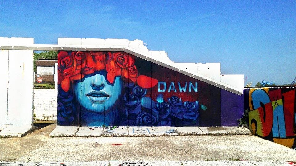 Matthew Dawn Graffiti Artist Blue Lady Ghent Belgium - Street Art Graffiti Belgium