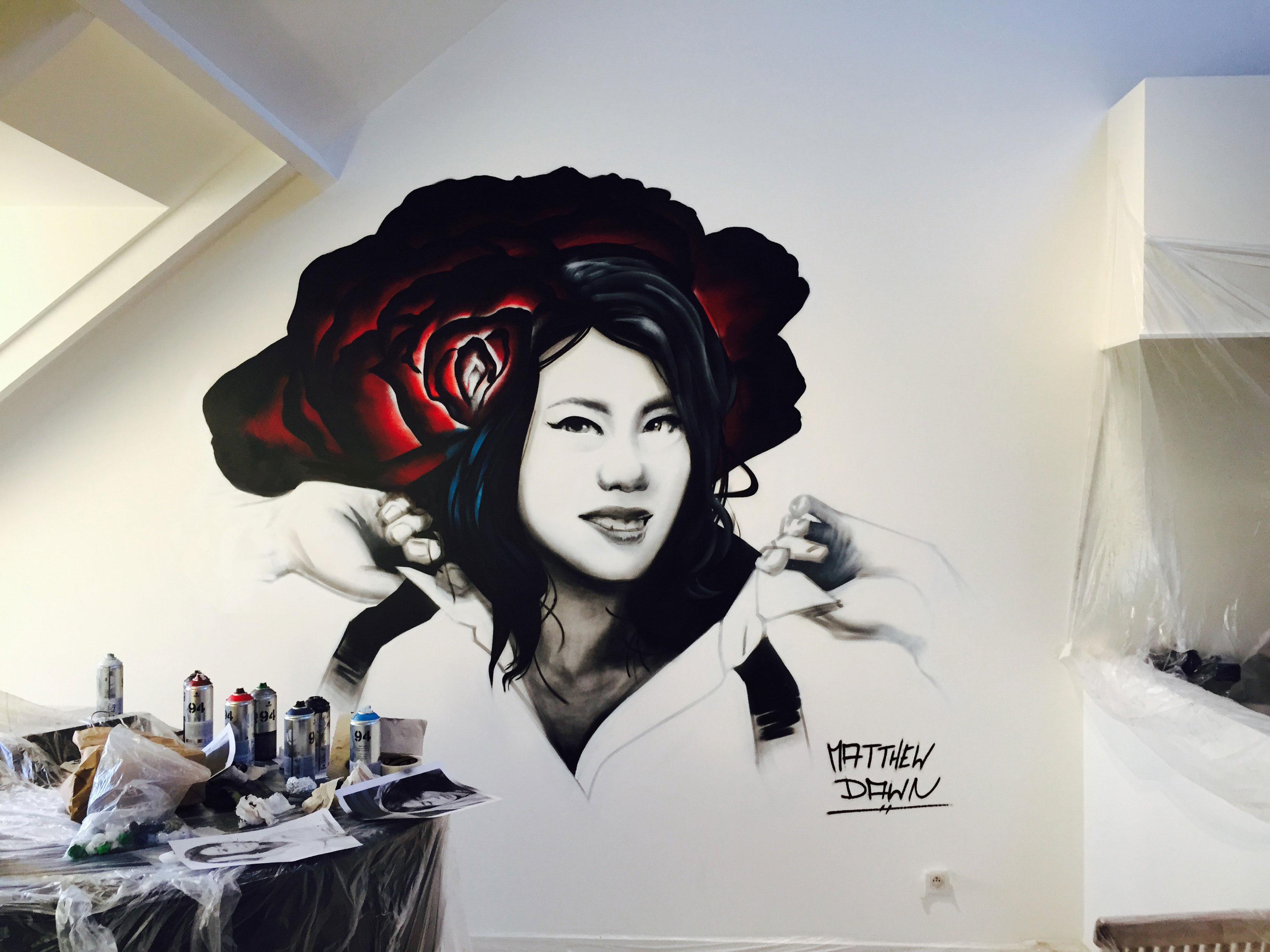 Asian Portrait by Graffiti Artist Matthew Dawn - Street Art Belgium Graffiti Belgium