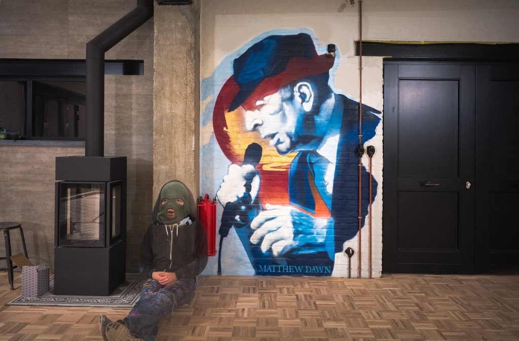Leonard Cohen street art mural muurschildering prive private commission
