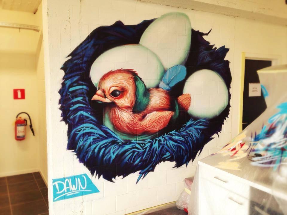 Matthew Dawn Bird Nest Graffiti Kunst Op Kot Antwerpen Belgium Antwerp - Street Art Graffiti Belgium
