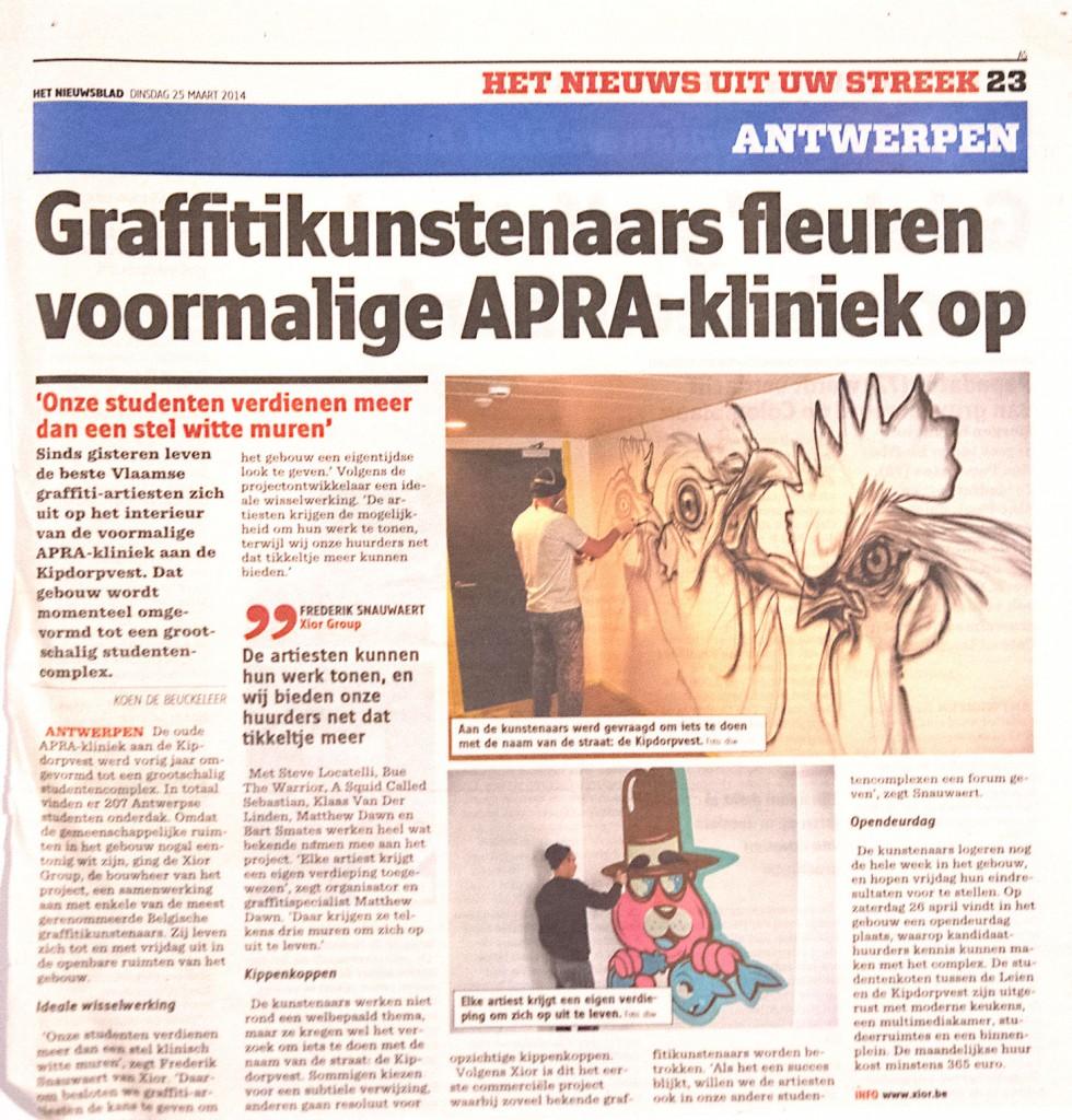 Xior graffiti student housing student kot muurschildering belgie bue the warrior bart smates steve locatelli gazet van antwerpen nieuwsblad klaas van der linden belgisch kunstenaar street art matthew dawn
