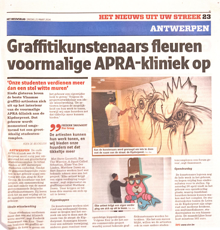Matthew Dawn Article News Nieuwsblad Kunst Op Kot Xior Kipdorpvest studentenkot