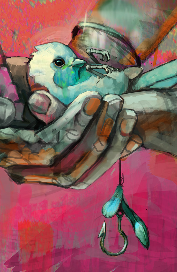 Matthew Dawn Graffiti Artist Fallen Bird Digital Sketch