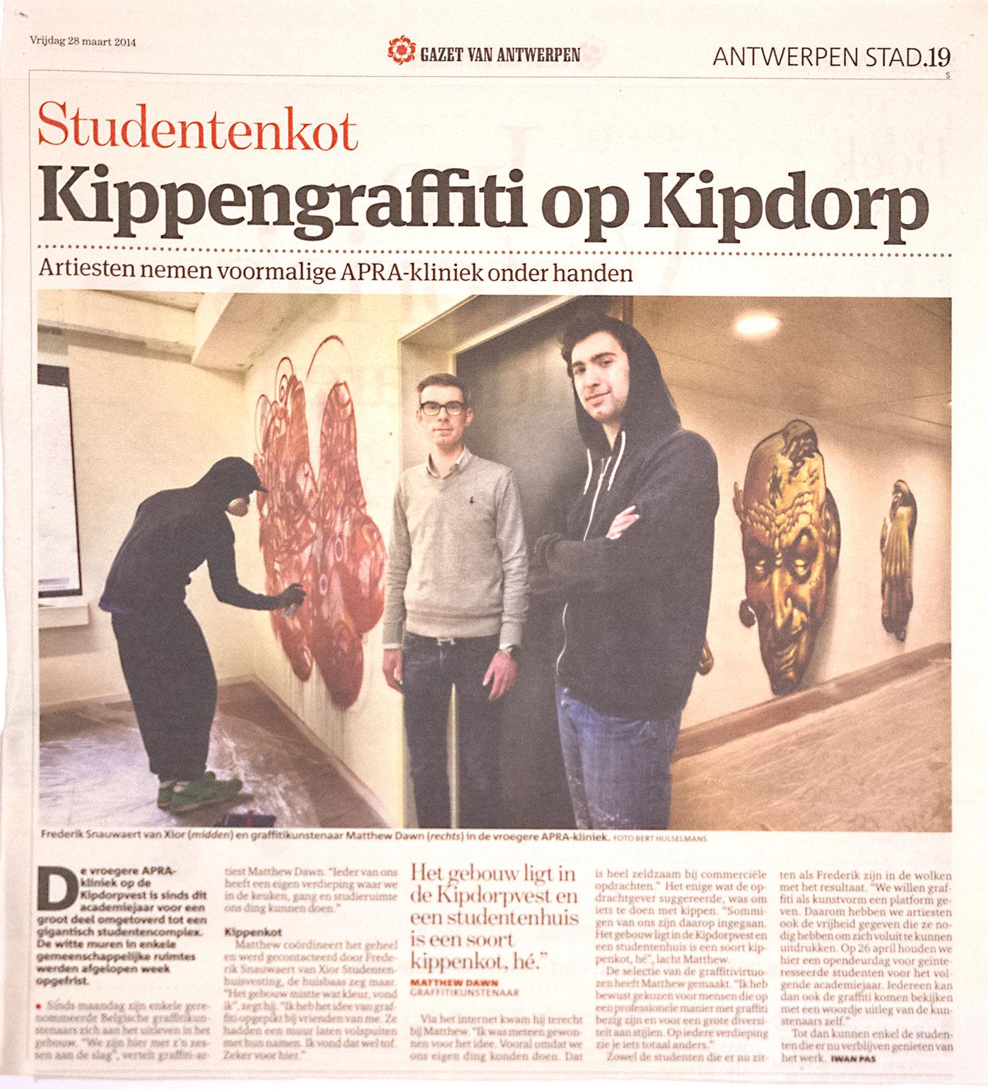 Matthew Dawn Article News Gazet Van Antwerpen Kunst Op Kot Xior Kipdorpvest studentenkot