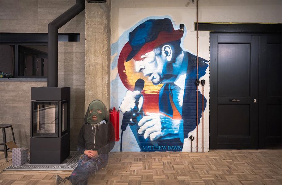 Matthew Dawn Leonard Cohen Graffiti Indoor mural decoration muurschildering street art interieur decor hallelujah