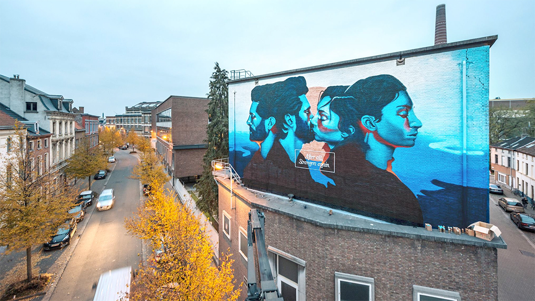Matthew Dawn After All Strangers Again Graffiti Street Art Mural Muurschildering Gent Ghent Love Lost Heartbreak broken relationships break ups breakup