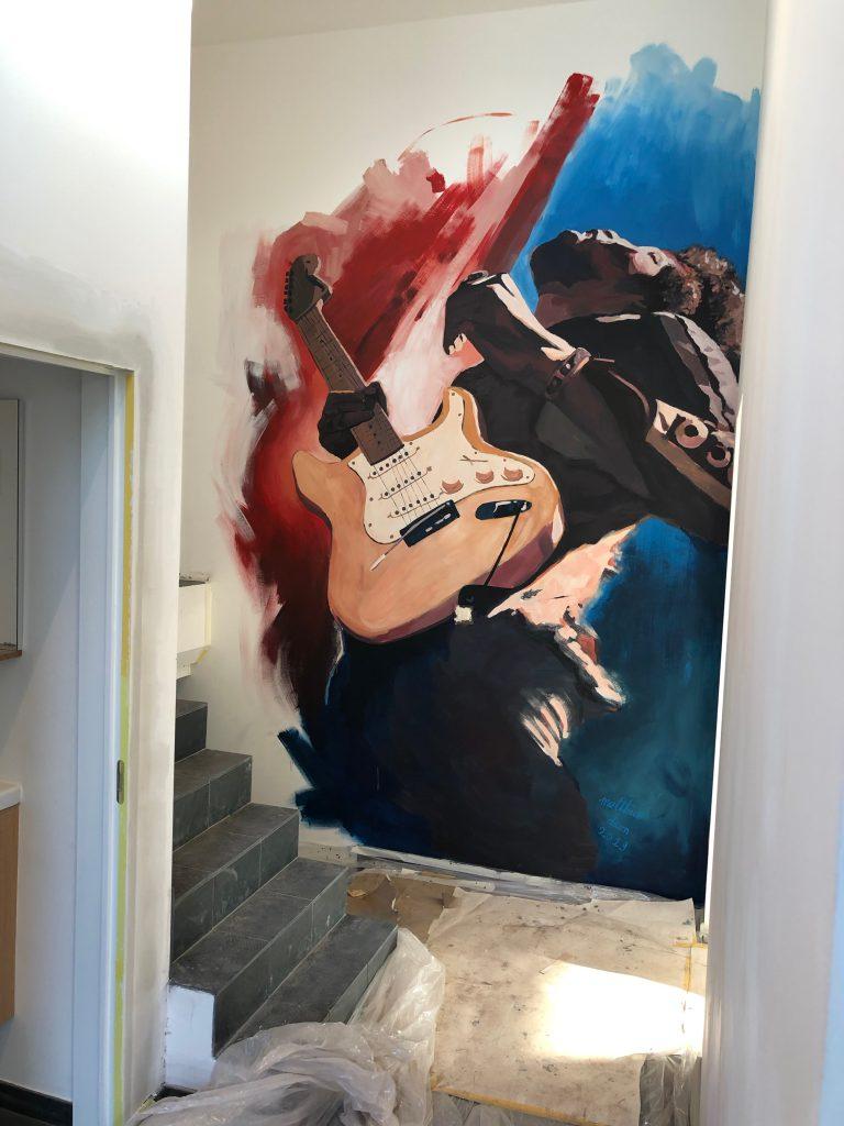 Jimi Hendrix graffiti mural muurschildering street art matthew dawn belgische kunstenaar